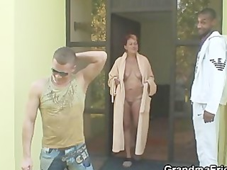 mixed three people group fuck with granny
