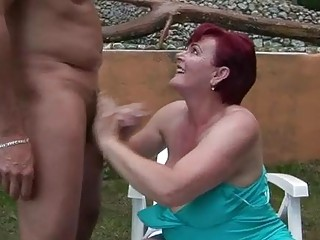 naughty old slyt with black tresses bumped public
