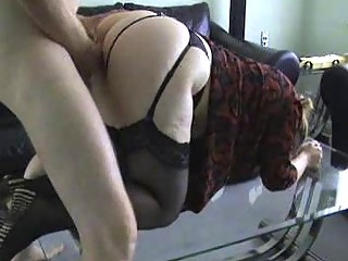 lady ho inside nylons acquires bent over and
