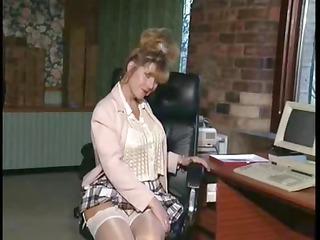 english milf slut ann inside an bureau scene