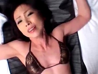thin lady with little boobs into gstring