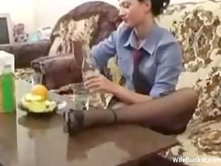 naughty wife banging a bottle