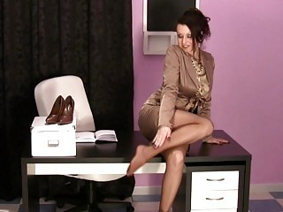 super woman into the workplace having on satin