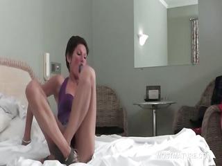 brunette skinny cougar bangs dildo upskirt into