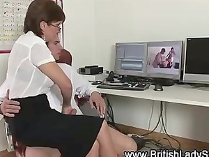 older stockinged brit licks and jerks