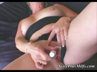 blonde milf and her electric device