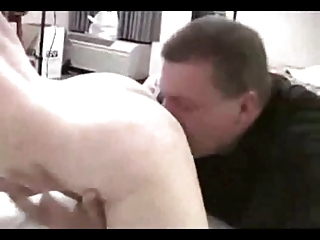 cuckold licks sloppy cum from maiden