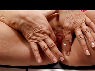 bleached elderly into pantyhose fist