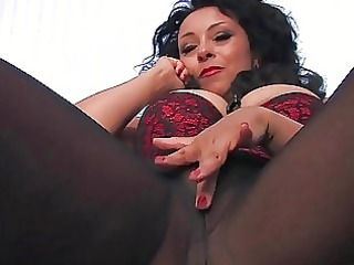 desperate black haired woman inside brown nylons