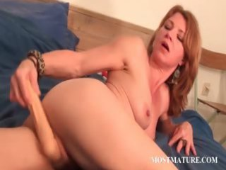 mature albino works cunt with sex toy