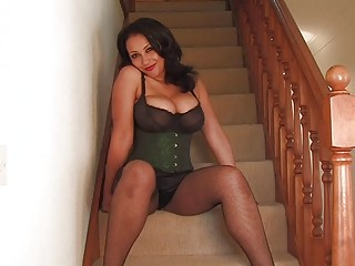 filthy ebony haired momma into gorgeous cirset