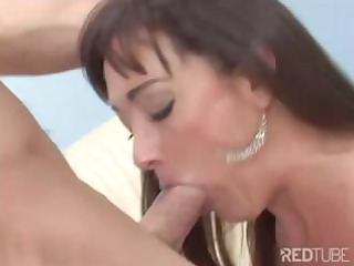 brunette woman blows and takes drilled by her