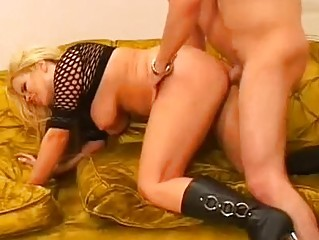 whorish bleached woman inside shoes acquires her