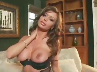 busty milf teases in pantyhose a garter and