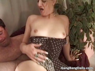 nasty blond mature babe caught in tough