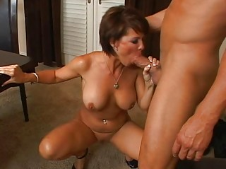 awesome brunette woman with large bossom licking