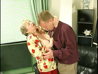 heavy blond old uses her very big saggy breast
