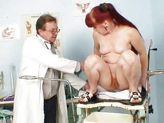 cougar olga has her redhaired shaggy vagina gyno