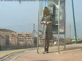 amp lady into brown pantyhose flashes her clean