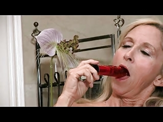 old inside nylons teases with her device