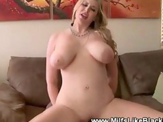 colorless busty lady gang-banged by brown cock