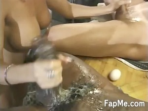 super milf gives head to two horny dudes