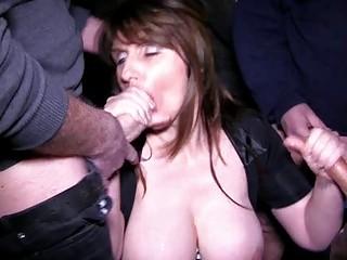naughty brunette woman obtains inside a bukkake