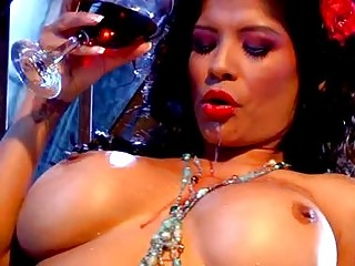 sweet brown haired lady with large bosom pleasing