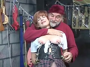 sexy, elderly redhead acquires her cum-hole toyed