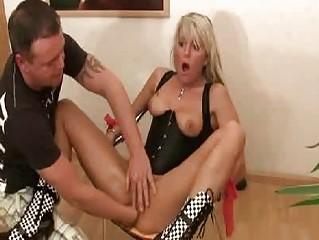awesome blonde woman violently fisted inside her