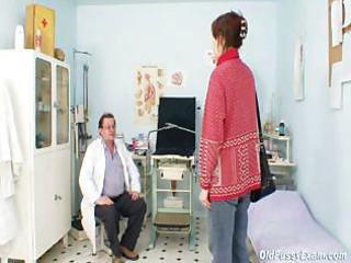 unpretty grownup lady at pervy gyno nurse
