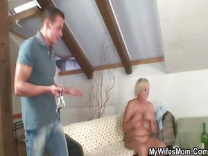 horny elderly seduces her son into law