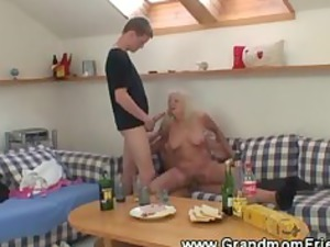 banging elderly triple with licking and fucking