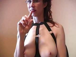 horny rufous mature babe with glasses does titjob
