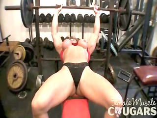 grown-up muscular chick enjoys with large clit
