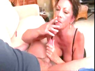 mature brunette margo sullivan smokes cigarette