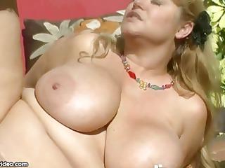 gorgeous large breast bbw lady gangbangs hunk