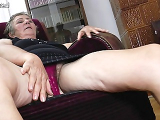 elderly grandma copulates two younger dikes