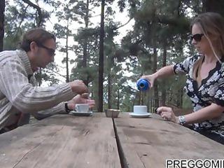 lactating amateur lady outdoor teaparty