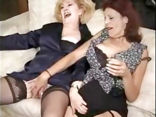 two matures into nylons enjoy a copulate